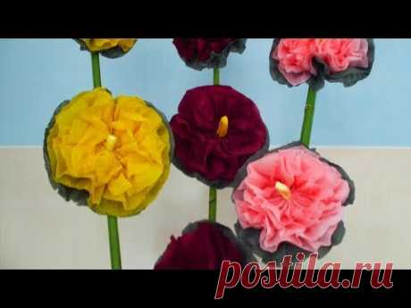 МАЛЬВЫ цветы из салфеток