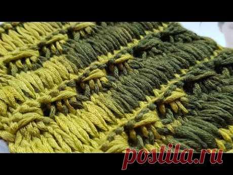 Бомбический узор с эффектом вытянутых петель ✌ knitting pattern.