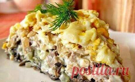 """Салат """"Орландо""""   Рецепт этого салатика я очень давно нашла на каком то сайте . Там он был заявлен, как фирменный салат минского ресторана """"Орландо"""". Делаю его довольно часто, нам очень нравится!  Салат выкладывается слоями по порядку:  1 слой - обжаренные в масле, мелко порезанные грибы (желательно шампиньоны) - 500 г (при жарке немного посолить)  2 слой - солёные огурцы (порезанные мелким кубиком) - 2-3 в зависимости от размера огурцов (можно даже взять 4, если небольшие..."""