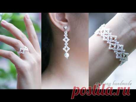 DIY elegant bridal jewelry set. Beading tutorial. Bracelet, earrings & ring - YouTube
