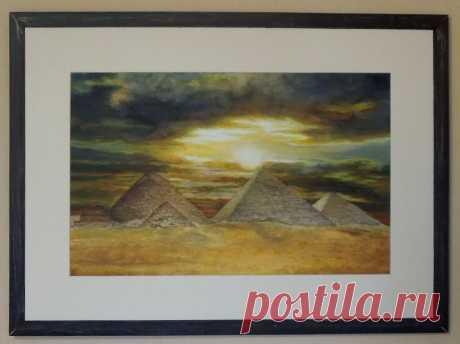 Пейзаж № 198 (70х50)  Закат над пирамидами.Египет - OLASUN.ru - картины акварелью