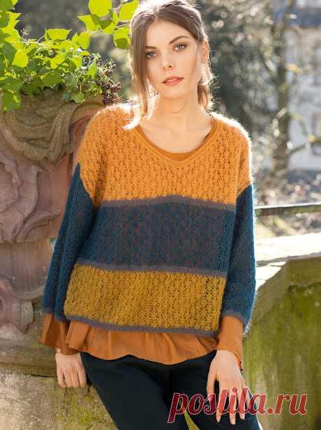 Пуловер с широкими цветными полосами - схема вязания спицами. Вяжем Пуловеры на Verena.ru