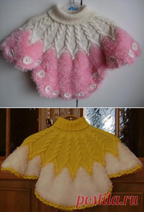 Вязаное пончо для девочки - Пончо - Схемы вязания - Авторский проект Натальи Грухиной