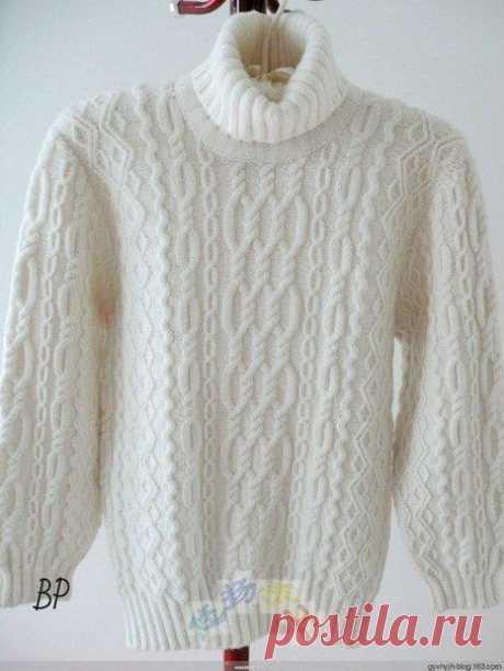 El jersey de hombre blanco como la nieve con aranami