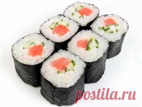 Роллы с красной рыбой, огурцами и сыром - Азиатская кухня (китайкая, корейская, японская)