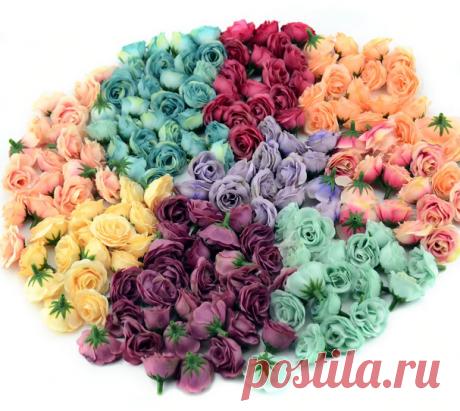 Шелковые розочки 2,5 см 10/50/100 шт, 7 цветов +  микс