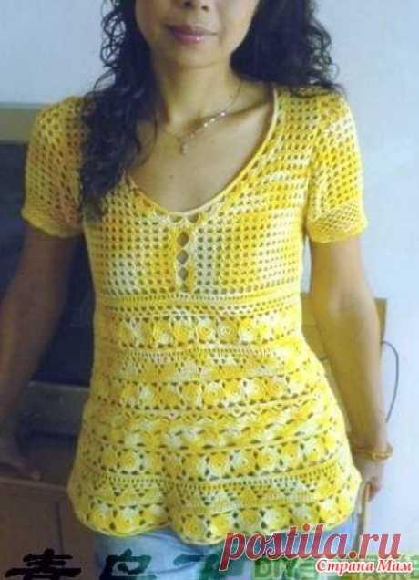 . La mimosa en el color. La blusa chiné. - todo en azhure... (La labor de punto por el gancho) - el País de las Mamás