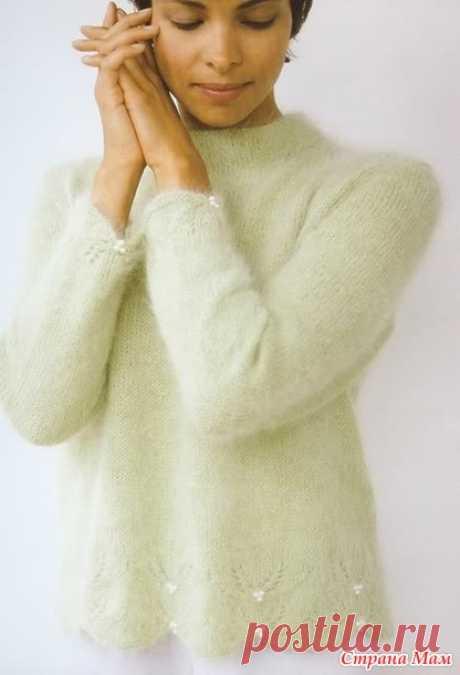 """Пуловер с цветочным узором и зубчатой каймой """"Ягодная гроздь"""" - Вязание спицами - Страна Мам"""