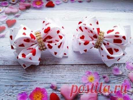 Бантики малышки из репсовых лент МК / Bows baby ribbon / Fitas bebê a partir de fitas