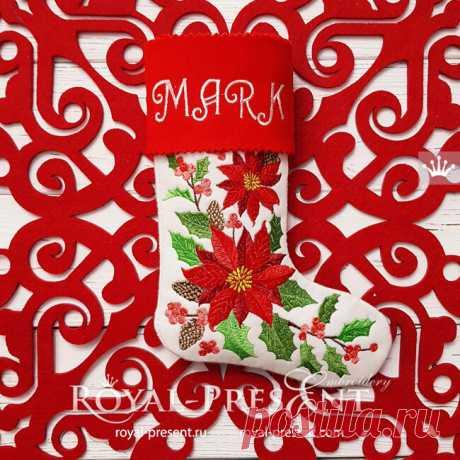 Дизайн машинной вышивки Новогодний Носок с манжетом