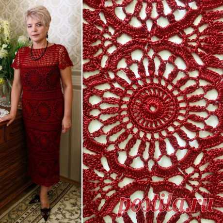 Красное платье из восхитительных мотивов (Вязание крючком) – Журнал Вдохновение Рукодельницы