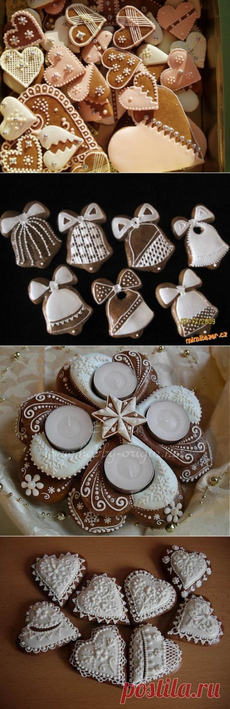 Christmas gingerbreads of Medovniki. MK on a list