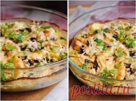 Картофельный гратен с курицей и грибами — идеальный сытный ужин!