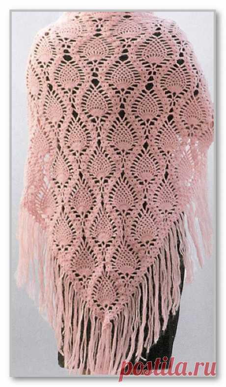 Вязание крючком. Шаль Ананас из хлопчато-бумажной пряжи. Размеры: 180 х 90 см