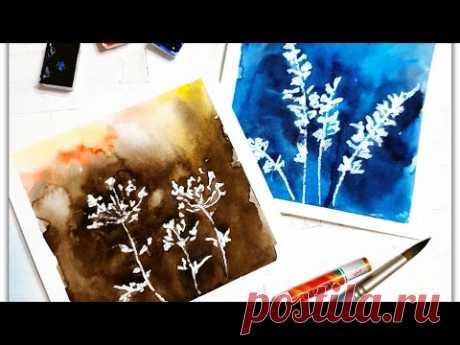 Акварель+масляная пастель! Интересный и лёгкий рисунок!