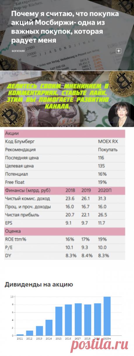 Почему я считаю, что покупка акций Мосбиржи- одна из важных покупок, которая радует меня | БогатаяЯ | Яндекс Дзен
