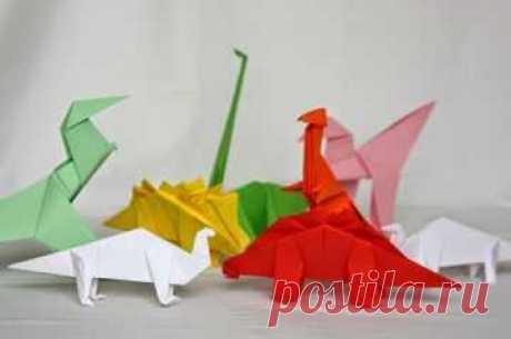 Оригами динозавр: собираем поделки из бумаги по схеме