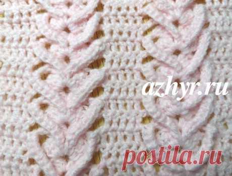 Оригинальный ажурный узор крючком - № 53  Данный узор я нашла на You канале Crochet by Ellejи мне он показался очень интересным. Решила попробовать связать, чтобы посмотреть, как он выглядит в полотне. Не знаю, что можно было бы связать из одежды таким узором, но подушки или плед могут получится очень оригинальными.  Ажурный узор крючком — схема и описание Рапорт узора — 14 в.п. +5. Схему читайте: нечетные ряды справа налево, четные — слева направо. 1 ряд . 3 в.п подъема,...