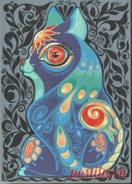 Предлагаю как образец на подарки - А4 формат - фанера интерьерные краски - Солнечная кошка и Небесная