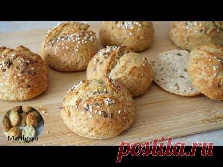 Цельнозерновые булочки без дрожжей быстро,просто, полезно/Whole Grain Buns