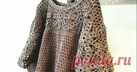 Мотив для Свободной Блузы Крючком. Pattern for a Crocheted Blouse.  топ крючком описание вязания,блуза,квадратный мотив,мотивы крючком,бесплатное описание,вяжем стильную блузу крючком,оверсайз,