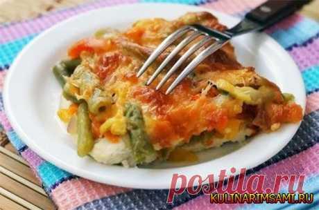 Куриный стейк запеченный с овощами и сыром - пошаговый рецепт.