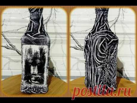 Декор бутылки для мужчины. Декор кожей.
