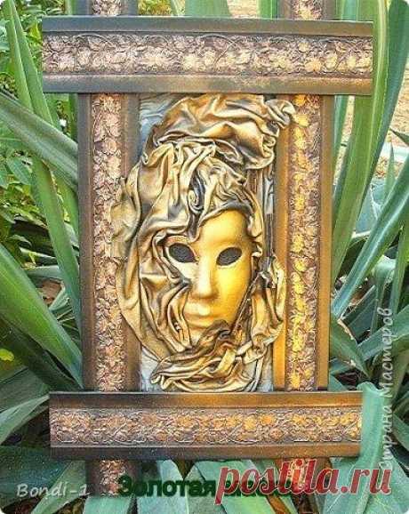 """Золотая маска (Картина из кожи) Вот такая картина в брутальной раме у меня сотворилась. Когда-то я делала уже подобную картину в точно такой же раме. Она так и называлась """"Золотая маска в брутальной раме""""))) И вот эта моя работа в т..."""