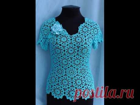 Knitting of a blouse from motives. A jacket from motives a hook. How to knit from motives. PART 3 Crochet blouse