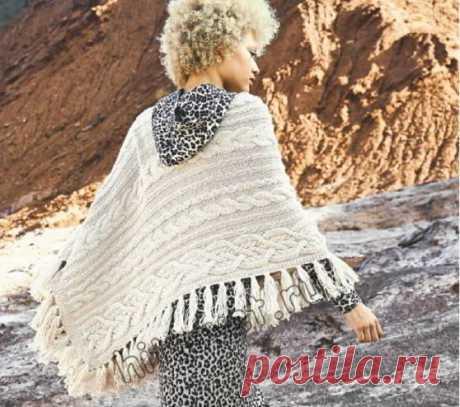 Прямоугольная шаль с косами - Хитсовет Вязание спицами для женщин прямоугольной шали с косами со схемами и пошаговым бесплатным описанием.