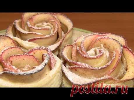 """""""Розы"""" из яблок и слоеного теста / Простые рецепты домашней выпечки - YouTube"""