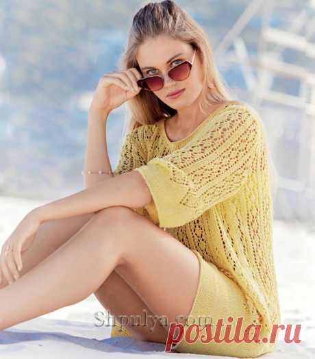 Летняя ажурная туника светло-желтого цвета — Shpulya.com - схемы с описанием для вязания спицами и крючком