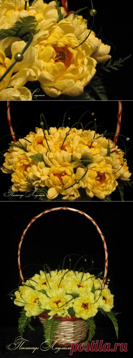 Пышные хризантемы из креп бумаги — Рукоделие