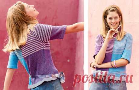 Разноцветный джемпер покроя реглан - схема вязания спицами. Вяжем Джемперы на Verena.ru