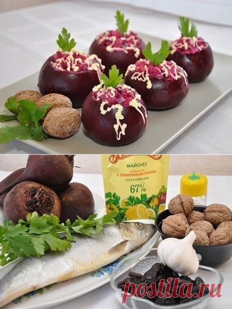 Как приготовить свекла, фаршированная селедочным салатом - рецепт, ингредиенты и фотографии