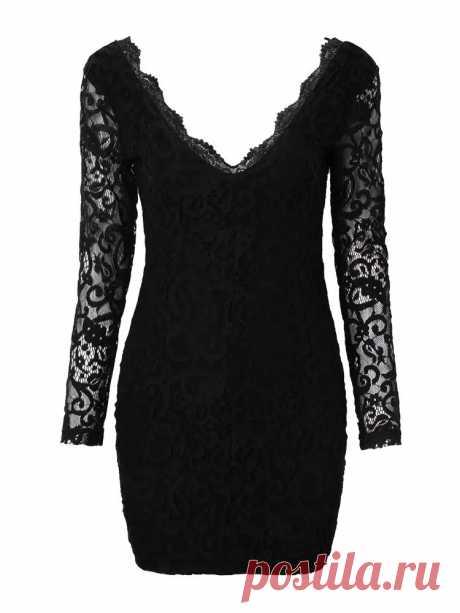 Deep V Lace Back Gold Zips Slim Long Sleeve Women Dress - US$38.99