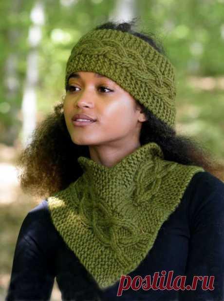 Теплый шарф-воротник, вяжем спицами