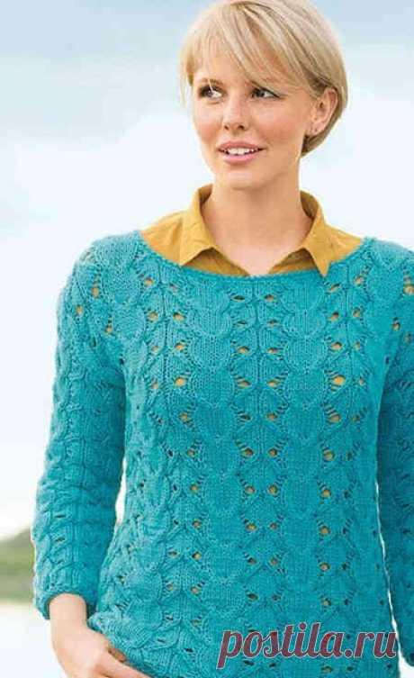 Вязаный женский эффектный пуловер винтажным узором спицами – схема с описанием