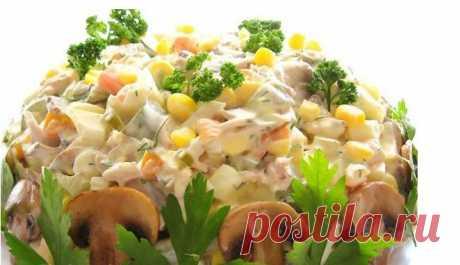 Диетический салат с курицей и грибами Можно даже на ночь!