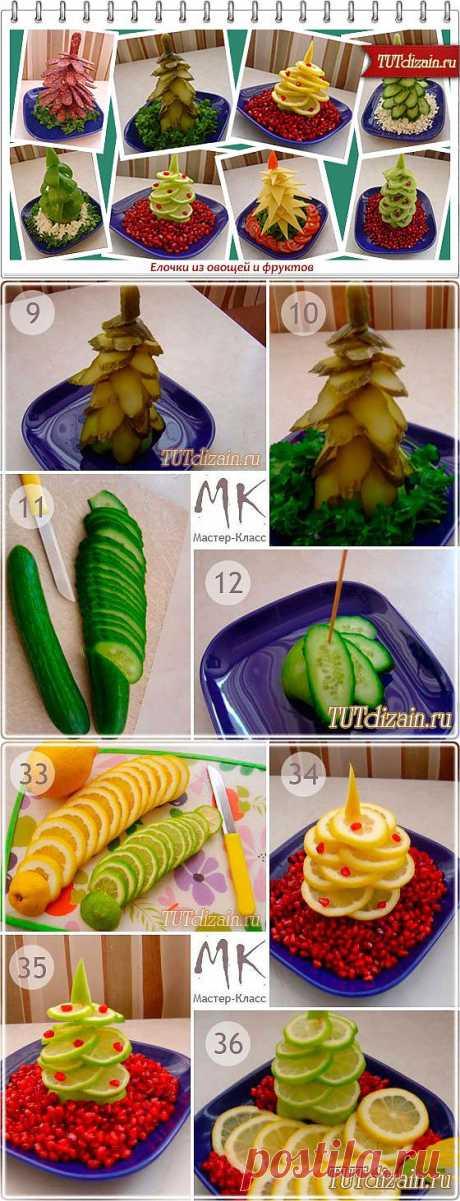 """Новый год к нам в гости мчится! Оригинальные """"ёлочки"""" из овощей и фруктов.."""