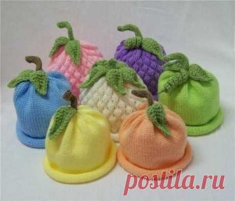 Забавные вязаные детские шапочки