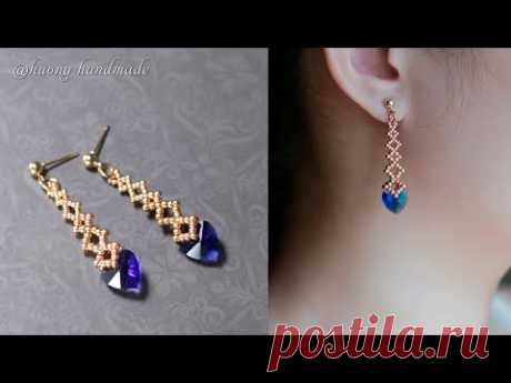 Deep blue sea heart earrings. How to make beaded jewelry. Beading tutorial