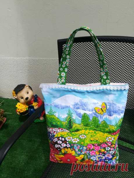 Летняя сумка в стиле лоскутной аппликации - красиво и оригинально.