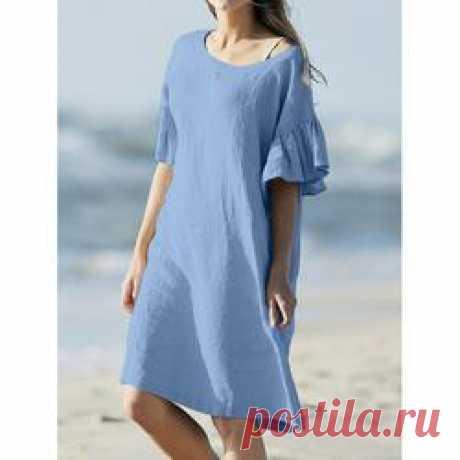 Повседневные платья из сплошного цвета с короткими рукавами - лепестки