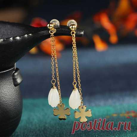 China Qinghai Jade Stud Earrings 925 Silver Sterling Gold | Etsy