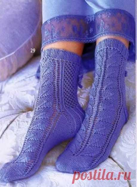 Ажурные сиреневые носочки из категории Интересные идеи – Вязаные идеи, идеи для вязания
