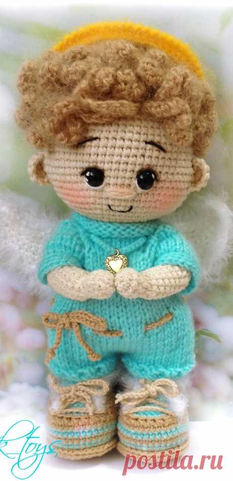 PDF Пупс малыш Ангел крючком. FREE crochet pattern; Аmigurumi doll patterns. Амигуруми схемы и описания на русском. Вязаные игрушки и поделки своими руками #amimore - ангел, ангелок, ангелочек, кукла, куколка.
