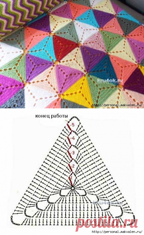 Плед из разноцветных треугольных мотивов