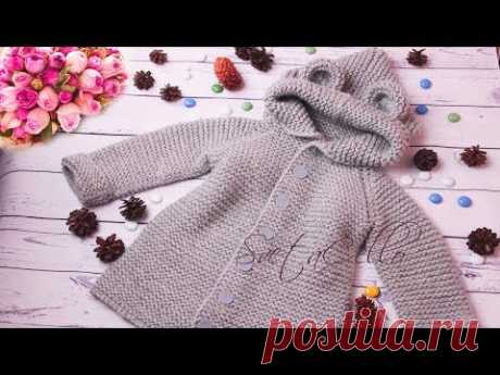#2🚼 Baby COAT with hood ||KNITTING TUTORIAL||Пальто с КАПЮШОНОМ детское спицами