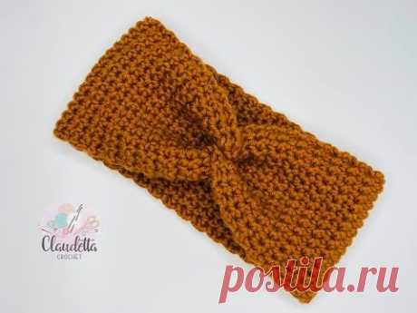 Crochet X-Twist Headband / Earwarmer / BEGINNER - YouTube